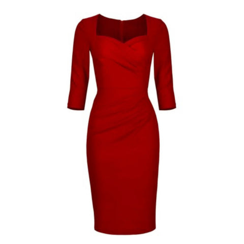 ruched pencil dress in ruby