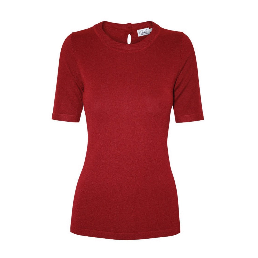 Red short-sleeve crewneck sweater with back keyhole detail.