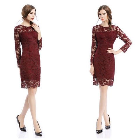 Burgundy lace sheath dress with long sleeves and demure knee-length.
