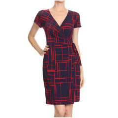 Striking true wrap dress in a bold red and blue abstract print.