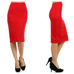Fitted knee-length pencil skirt in red.