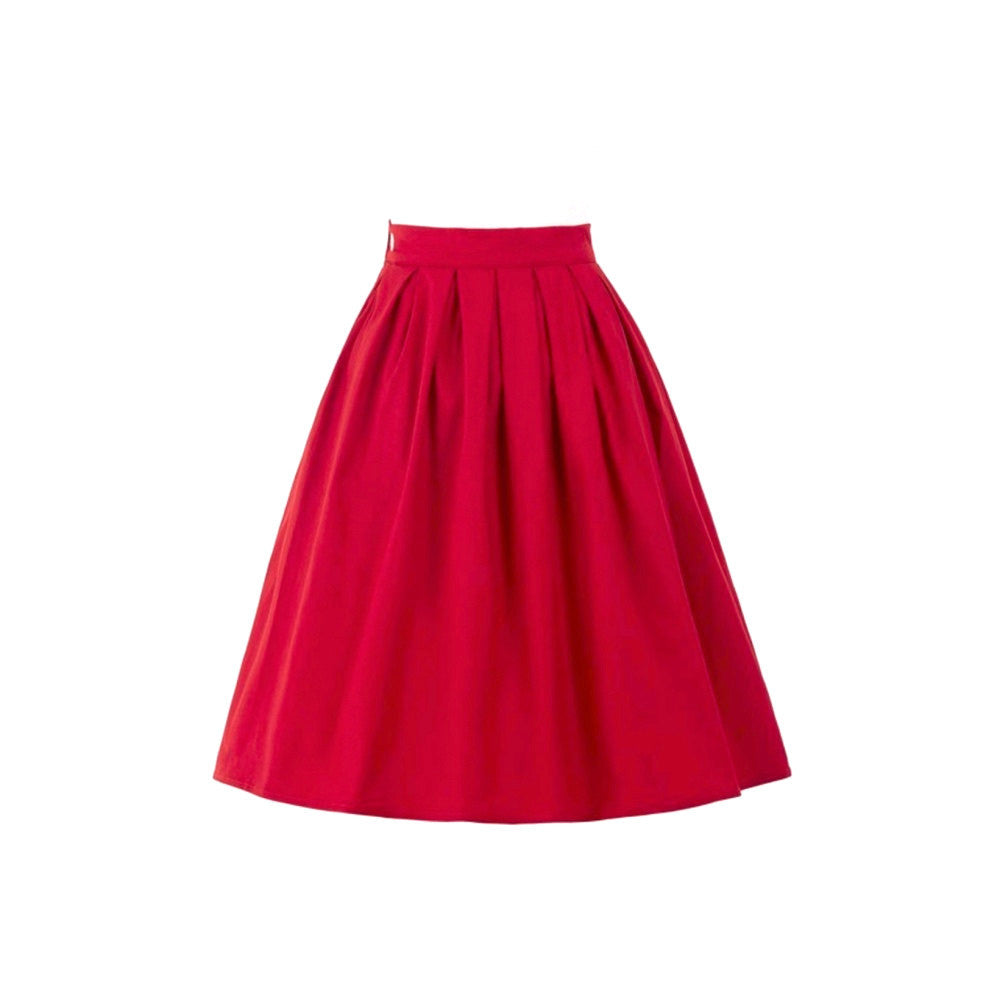 Red a-lne skirt with box pleats and knee-length.