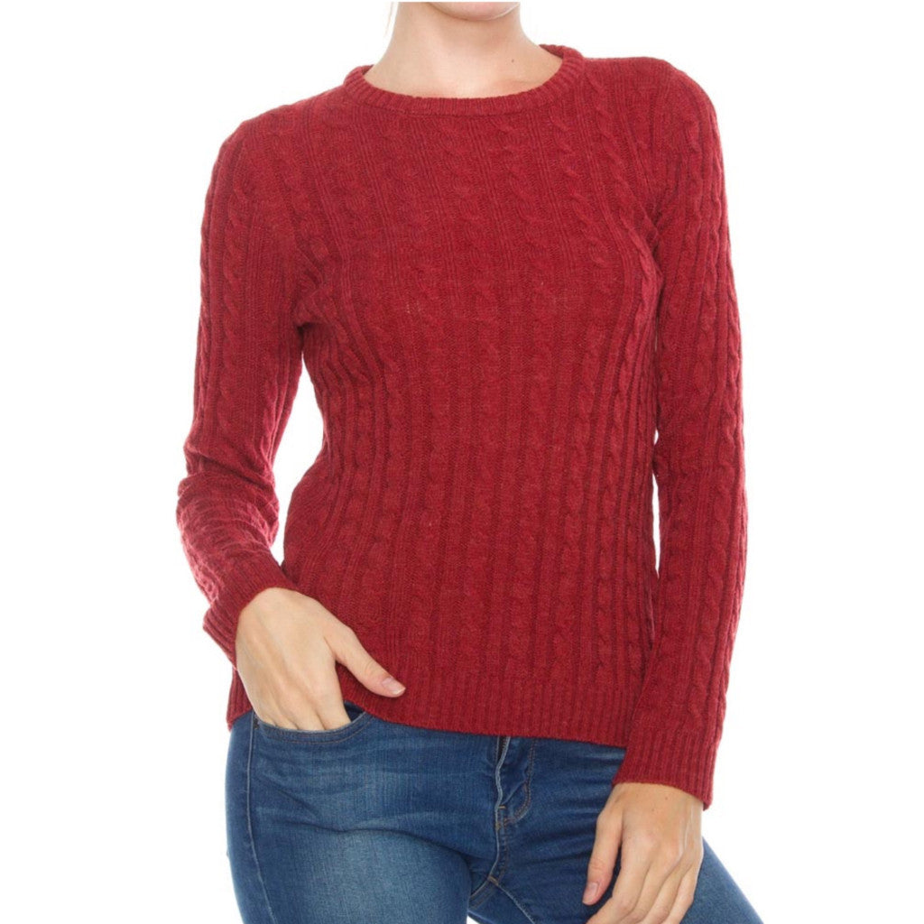 Red crew-neck cable knit sweater.