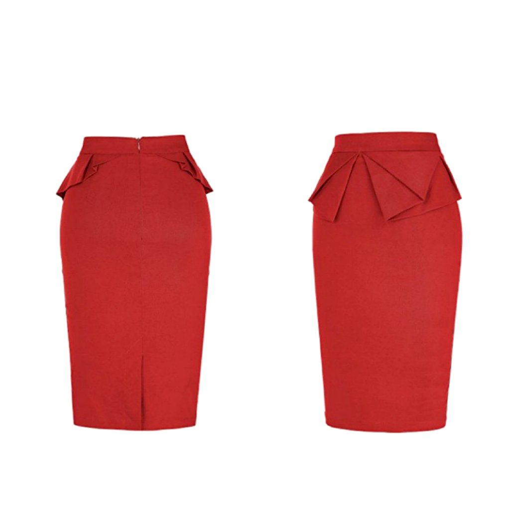 Classic red pencil skirt with a charming, 1940's-style peplum.
