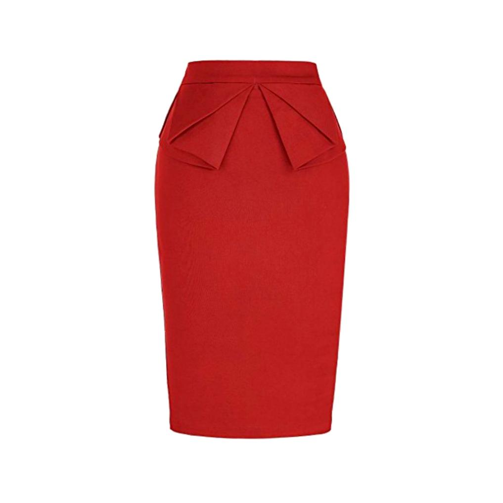 Classic red pencil skirt with a charming, 1940