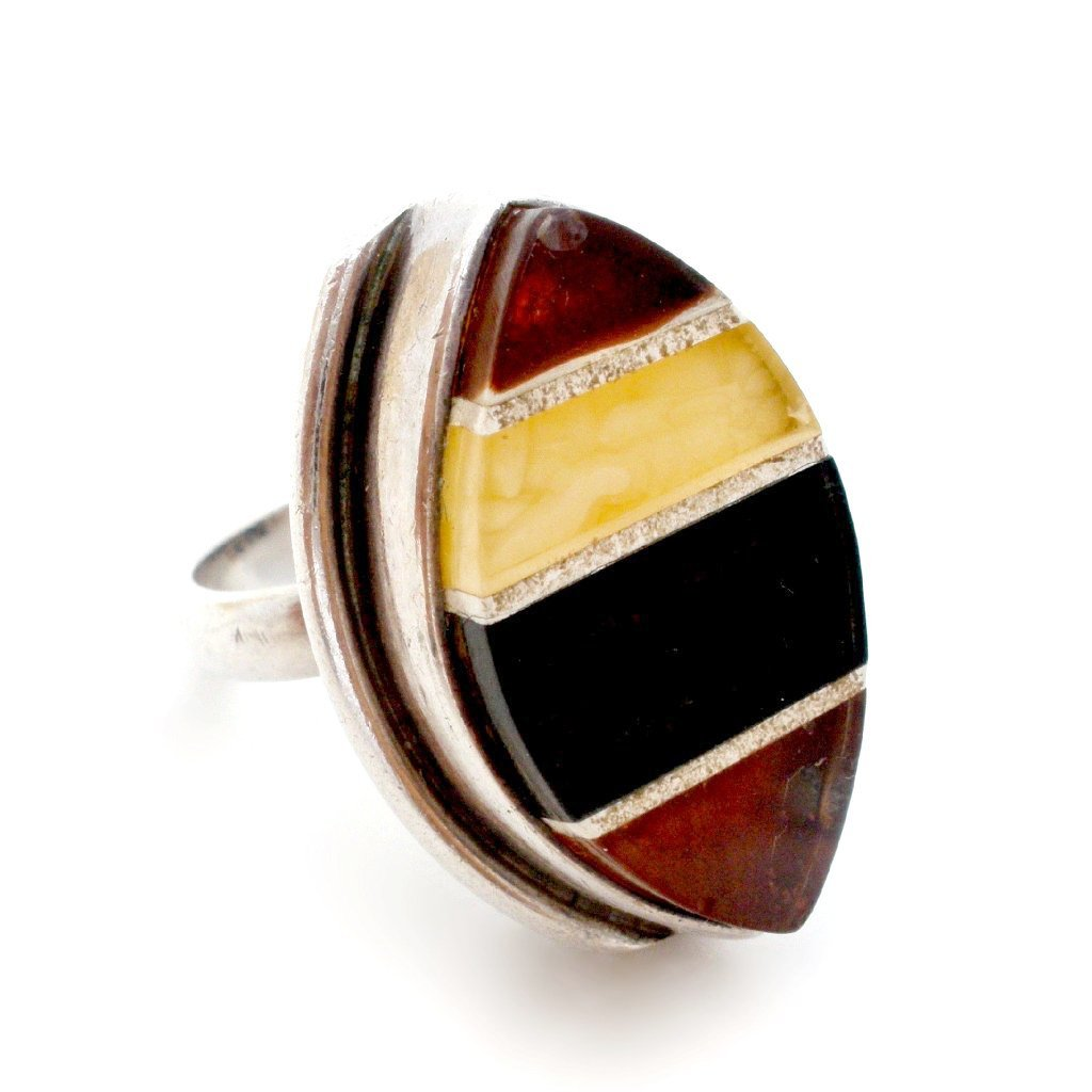 True vintage, 1930's art deco sterling silver and amber size 8 ring.