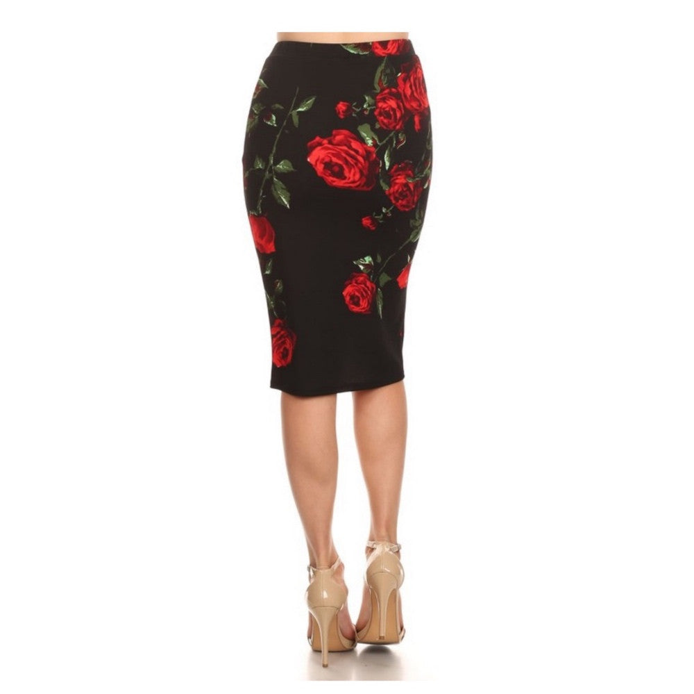 Black fitted pencil skirt with bold rose print.