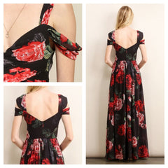 Stunning rose print cold shoulder dress.