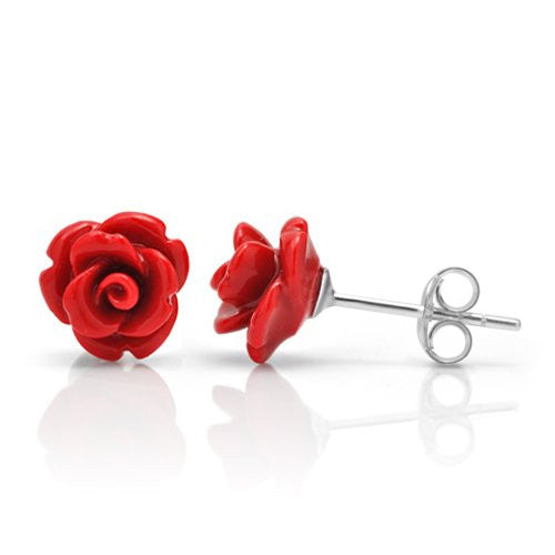 Tiny red rose sterling silver stud earrings.
