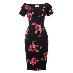 Enchanting black off-the-shoulder hourglass dress with a romantic rose print.
