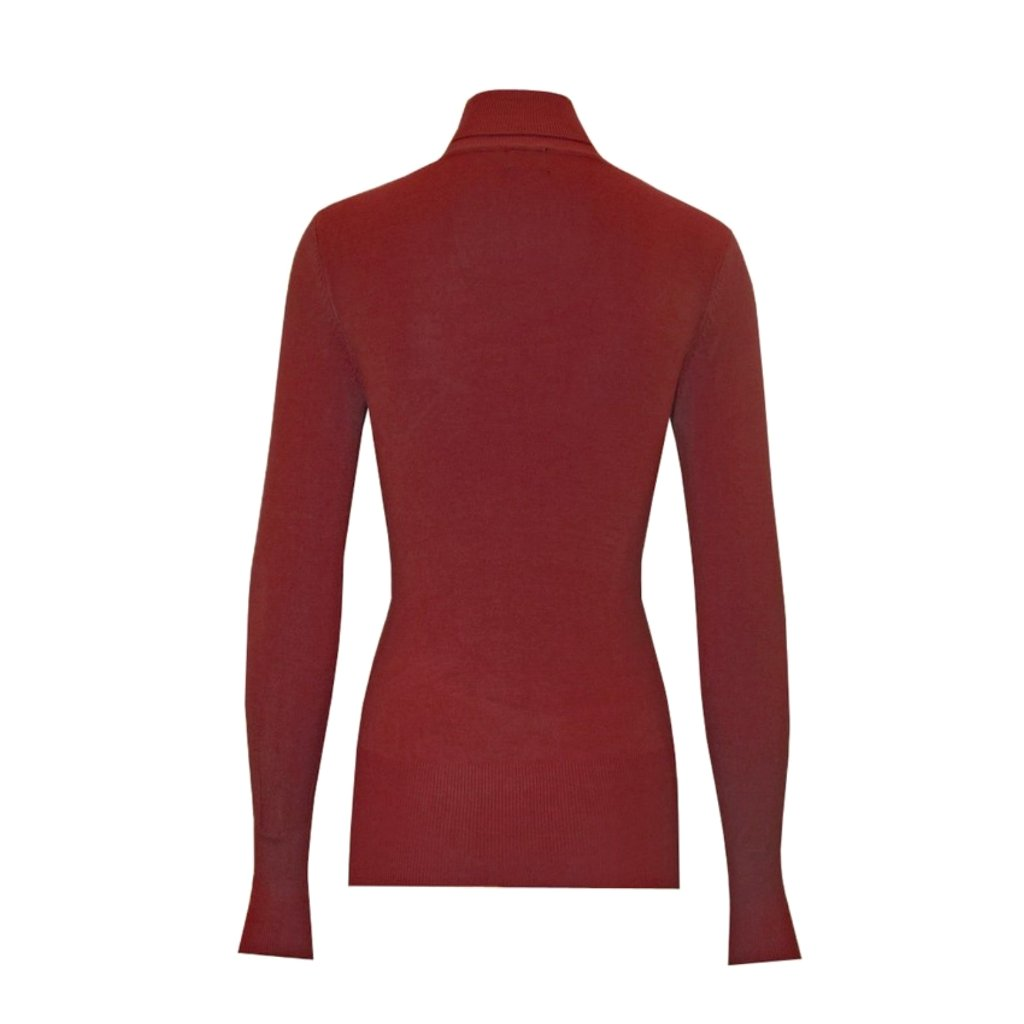 Classic red turtleneck sweater in a soft, medium-weight fabric with a pinch of stretch.