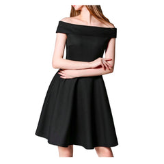 Black off-the-shoulder a-line dress.