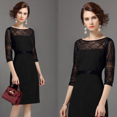Little black deco-style dress with mesh and sequin details.