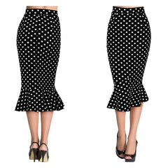 With its classic silhouette and demure length, this fabulous polka dot trumpet skirt is also exceptionally easy to wear.