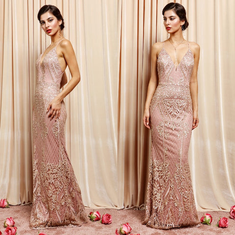 Exquisite dusty rose full-length lace dress with back slit.