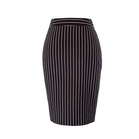Classic black and white pinstripe pencil skirt.