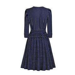 Lovely 1940's-inspired navy striped a-line midi dress with attached bow tie and long sleeves.