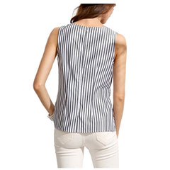 Summery charcoal-striped sleeveless top with attached waist tie.