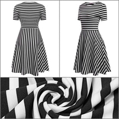 Black and white striped a-line dress with short sleeves.