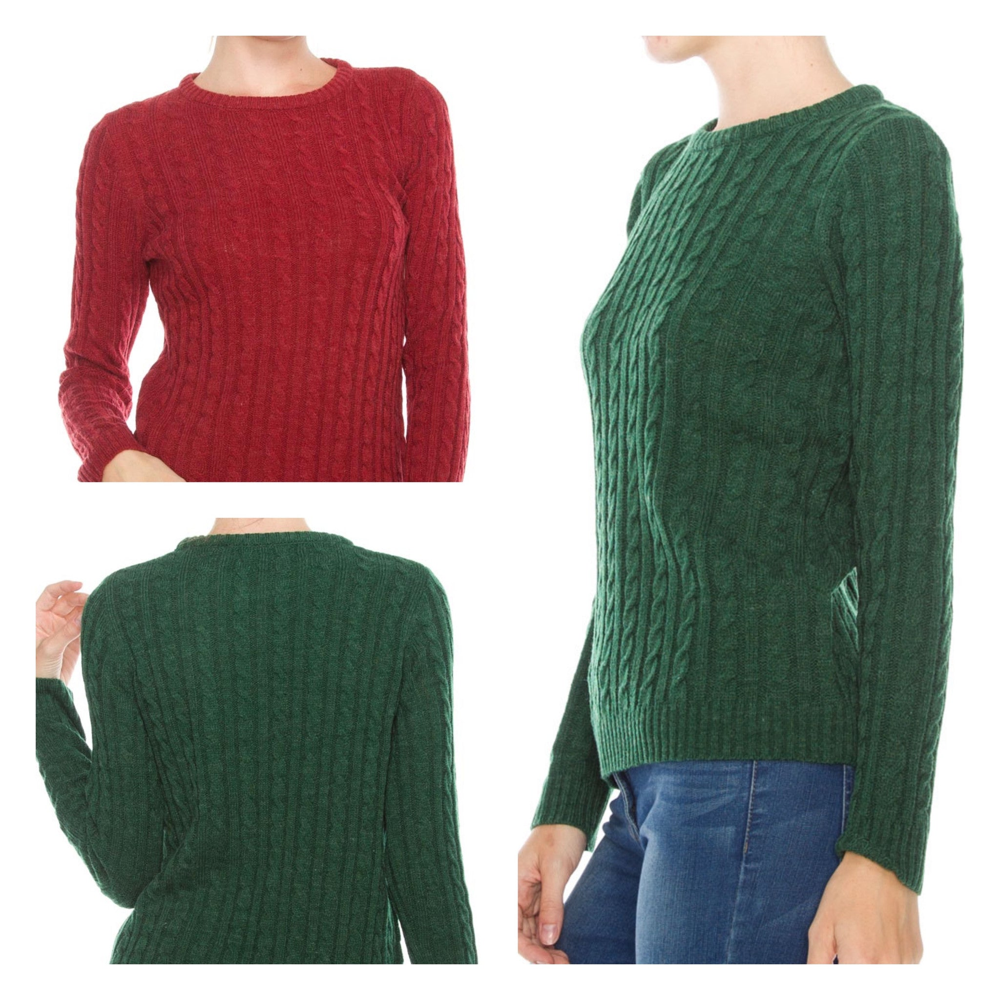 final sale | cable knit sweater in red