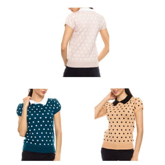 Short-sleeve polka dot sweater with white collar.