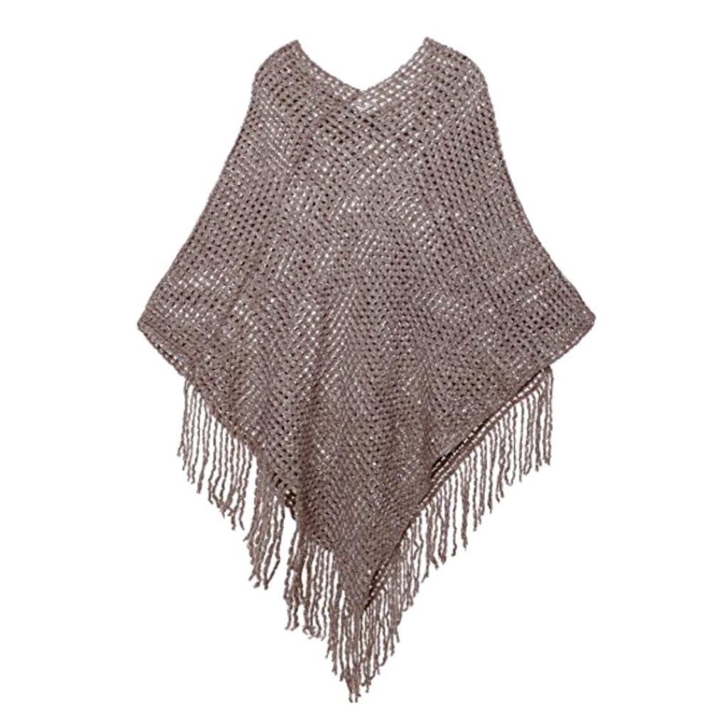 Taupe crochet knit shawl/wrap with fringe and sequin detail.