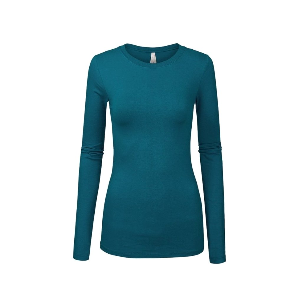 Classic teal blue long-sleeved cotton crewneck solid top.
