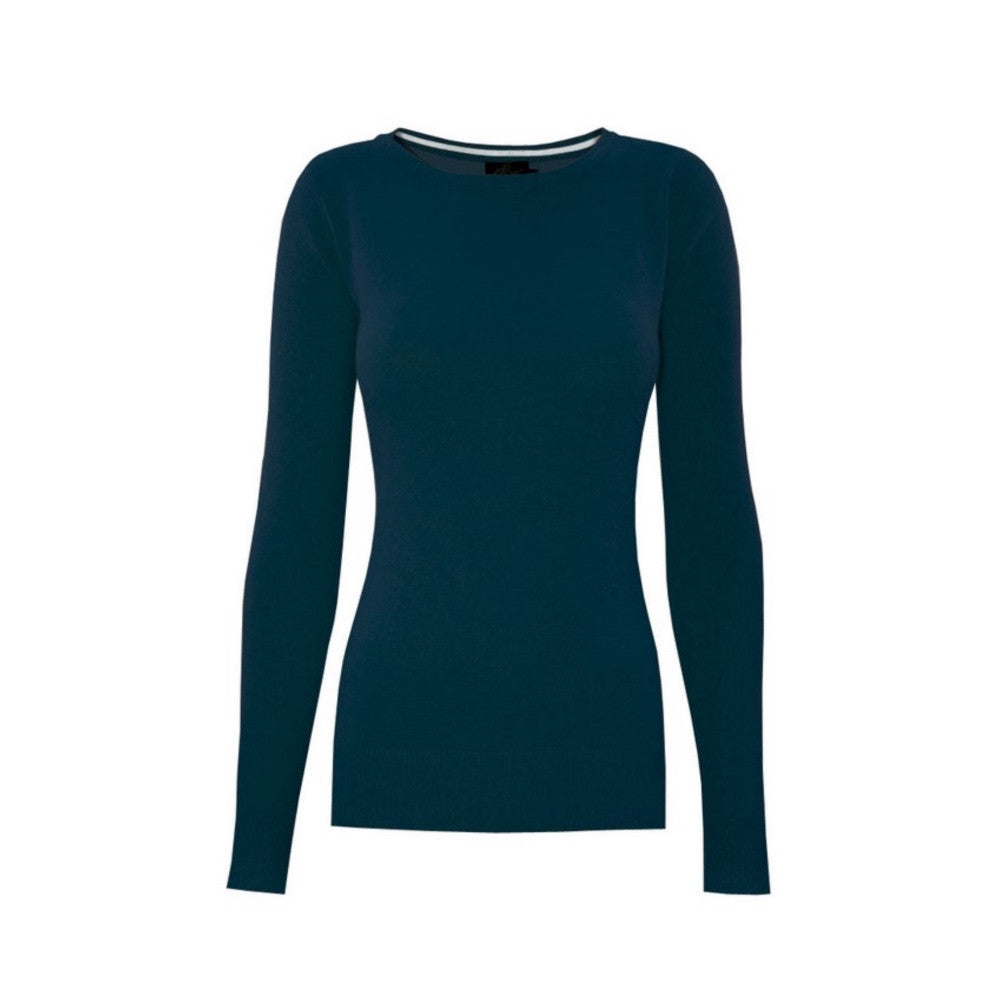 Classic teal crewneck sweater in a soft, medium-weight fabric with a pinch of stretch.