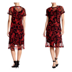 Charming red and black floral print mesh midi dress.