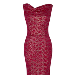 Exquisite 1930's-inspired burgundy lace floor-length sheath dress.