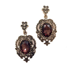 Lovely art deco-inspired aubergine topaz rhinestone pierced dangle earrings.