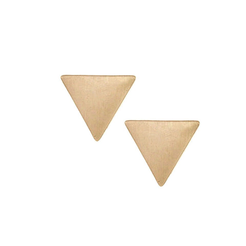 Minimal burnished gold triangle earrings