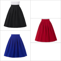 A-lne skirt with box pleats and knee-length.
