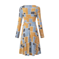 Chic, geo-print long-sleeve faux wrap dress in shades of yellow and blue.