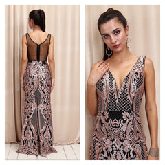 Spectacular art-nouveau evening dress with shimmering dusty rose lace embroidery and black mesh back.