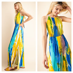 Vibrant and colorful halter maxi dress with keyhole opening.