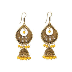 Bohemian-style yellow beaded chandelier dangle earrings.