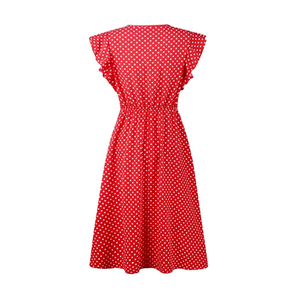 Lovely, 40's-style red polka dot a-line dress.