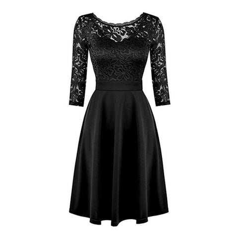 Classic black lace a-line dress with long sleeves.