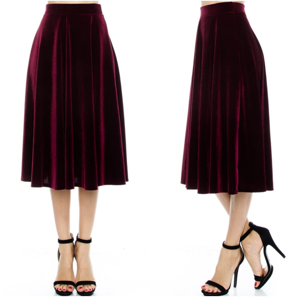 Velvet a-line midi skirt in wine.