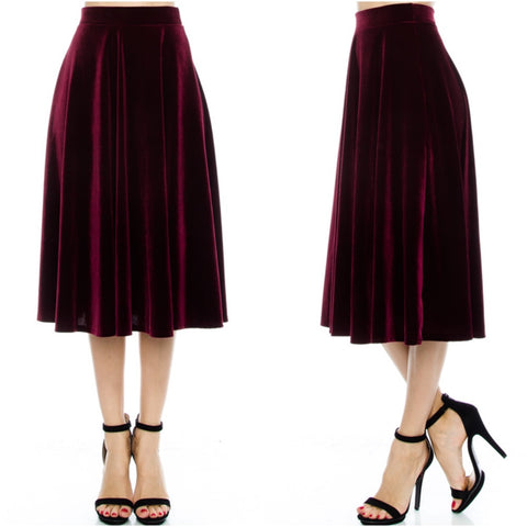 final sale | velvet swing midi skirt