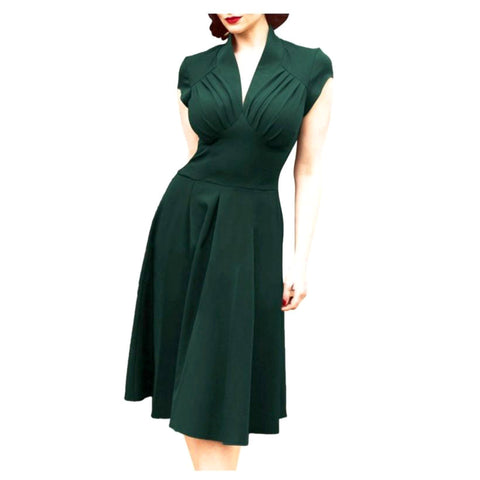 vespertine dress: Sultry 1940s-inspired hunter green a-line dress with a deep v neckline, ruched bodice and wide high waist. Lovely cap sleeves, softly pleated skirt. Unlined.