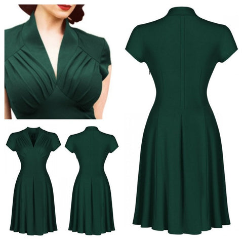 vespertine dress in hunter green