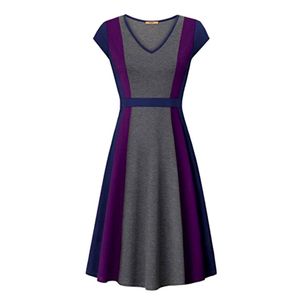Sophisticated violet purple color block a-line dress with cap sleeves.