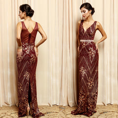 Stunning aubergine art nouveau sheath dress with shimmering floral lace embroidery.