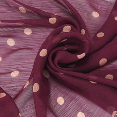 Classic red wine polka dot chiffon scarf.