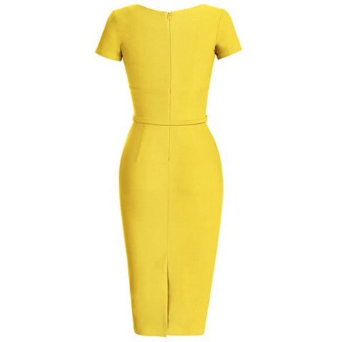 pleated pencil dress in canary