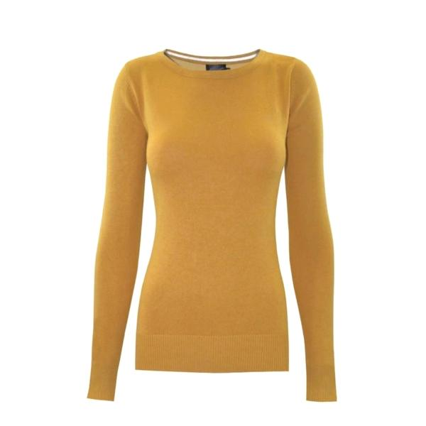 Classic saffron crewneck sweater in a soft, medium-weight fabric with a pinch of stretch.