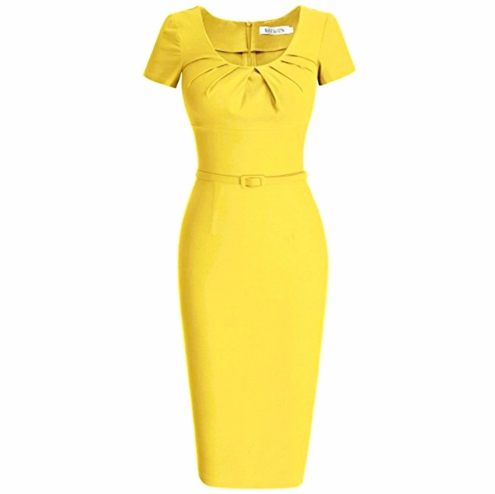 Vibrant canary cap-sleeved pencil dress with pleated scoop neckline and matching belt.