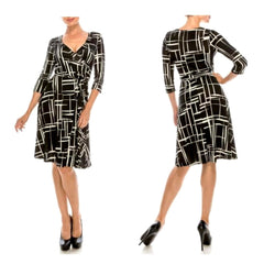 Black and white print faux wrap midi dress.